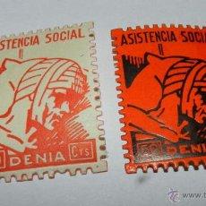 Sellos: 2 SELLOS GUERRA CIVIL, ASISTENCIA SOCIAL, DENIA. Lote 38279095