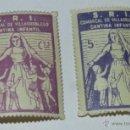 Sellos: 2 SELLOS GUERRA CIVIL, VILLARROBLEDO DE LA GUERRA CIVIL, DEL S.R.I. SOCORRO ROJO INTERNACIONAL, CANT. Lote 38279096