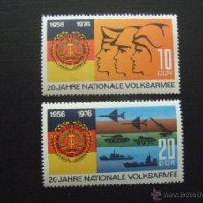 Timbres: ALEMANIA DDR Nº YVERT 1794/5*** AÑO 1976. 20 ANIVERSARIO FUERZAS ARMADAS POPULARES. Lote 42062182
