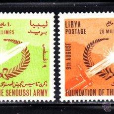 Sellos: LIBIA 242/43** - AÑO 1964 - ANIVERSARIO DE LAS FUERZAS ARMADAS. Lote 45583837