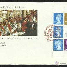 Sellos: GRAN BRETAÑA 1990 SOBRE PRIMER DIA CIRCULACION GUARDIA MILITAR DE LONDRES- REINA ELIZABETH II-- FDC. Lote 46165789