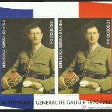 Sellos: RUSIA 2000 HOJA BLOQUE SELLOS EN MEMORIA AL MILITAR Y PRESIDENTE FRANCES CHARLES DE GAULLE. Lote 46766396