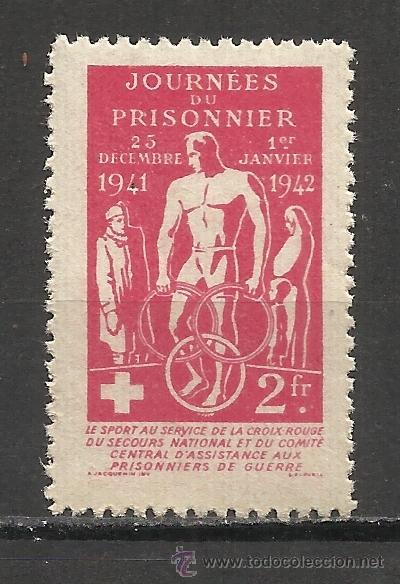 2130 -INTERESANTE VIÑETA 1942 PRISIONEROS DE GUERRA CRUZ ROJA FRANCIA.COMITÉ CENTRAL DE ASISTENCIA (Sellos - Temáticas - Militar)