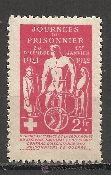 1034 -INTERESANTE VIÑETA 1942 PRISIONEROS DE GUERRA CRUZ ROJA FRANCIA.COMITÉ CENTRAL DE ASISTENCIA (Sellos - Temáticas - Militar)