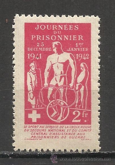 0581 -INTERESANTE VIÑETA 1942 PRISIONEROS DE GUERRA CRUZ ROJA FRANCIA.COMITÉ CENTRAL DE ASISTENCIA (Sellos - Temáticas - Militar)