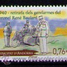 Sellos: ANDORRA FRANCESA 2015 - RETIRADA DE LOS GENDARMES DEL CORONEL RENE BAULARD - 1 SELLO. Lote 183937886