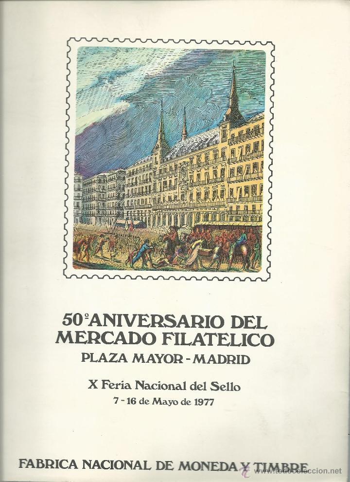 DOCUMENTO FILATELICO DE L 50 ANIVERSARIO MERCADO FILATELICO CON MATASELLOS ESPECIAL DE 7 - 5 - 77 (Sellos - Temáticas - Militar)
