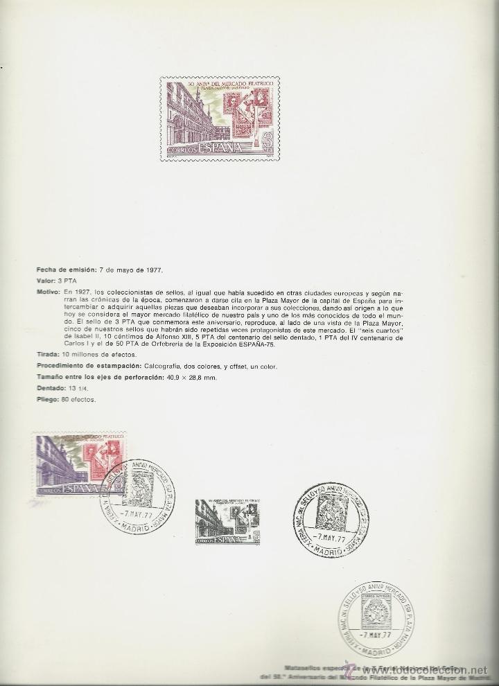 Sellos: DOCUMENTO FILATELICO DE L 50 ANIVERSARIO MERCADO FILATELICO CON MATASELLOS ESPECIAL DE 7 - 5 - 77 - Foto 3 - 191901887