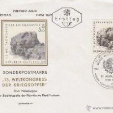 Sellos: AUSTRIA IVERT Nº 1166, ASAMBLEA ASOCIACIÓN MUNDIAL DE ANTIGUOS COMBATIENTES, PRIMER DIA 31-8-1970. Lote 50945924