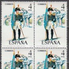 Sellos: EDIFIL 2280, ABANDERADO DEL REAL CUERPO DE ARTILLERIA (1803), NUEVO *** EN BLOQUE DE 4. Lote 53887654