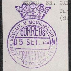 Sellos: FRANQUICIA, ZONA DE RECLUTAMIENTO Y MOVILIZACION Nº 31 EN CASTELLON. Lote 58781421