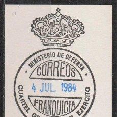 Sellos: FRANQUICIA, MINISTERIO DE DEFENSA, CUARTEL GENERAL DEL EJERCITO. Lote 54253093