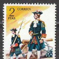 Sellos: EDIFIL 2198, UNIFORMES MILITARES GRUPO III (SIGLO XVIII): OFICIAL DE ARTILLERIA, NUEVO ***. Lote 182164843