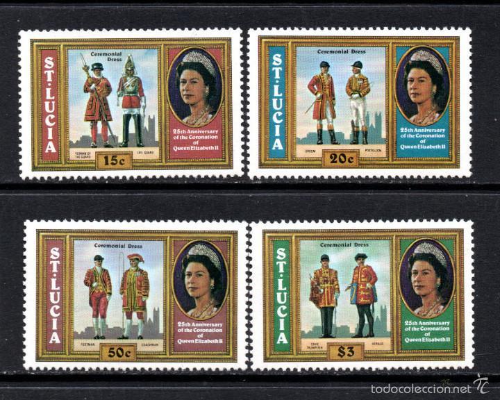 SANTA LUCÍA 436/39** - AÑO 1978 - UNIFORMES MILITARES - 25º ANIV. DE LA CORONACION DE ISABEL II (Sellos - Temáticas - Militar)