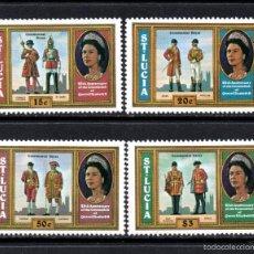 Sellos: SANTA LUCÍA 436/39** - AÑO 1978 - UNIFORMES MILITARES - 25º ANIV. DE LA CORONACION DE ISABEL II. Lote 136248362