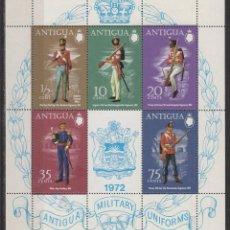 Sellos: ANTIGUA, UNIFORMES MILITARES INGLESES SIGLO XIX (1972), NUEVO CON GOMA INTACTA HOJA BLOUQE. Lote 107964296