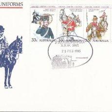 Sellos: AUSTRALIA, UNIFORMES MILITARES DE LAS FUERZAS COLONIALES, PRIMER DIA DE 25-2-1985. Lote 76165311