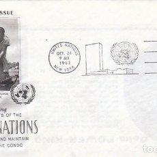 Sellos: NACIONES UNIDAS NUEVA YORK SCOTT Nº 110, CASCOS AZULES EN LA GUERRA DEL CONGO, PRIMER DIA 24-10-1962. Lote 97377923