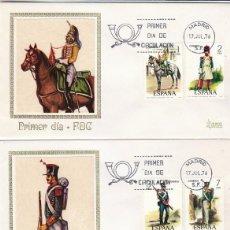 Sellos: EDIFIL 2350/4, UNIFORMES MILITARES GRUPO VI SIGLO XIX PRIMER DIA 17-7-1976 3 SOBRES MUNDO FILATELICO. Lote 114967383