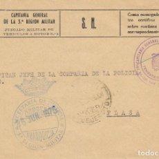 Sellos: AÑO 1975, JUZGADO MILITAR DE VEHICULOS A MOTOR, CAPITANIA GENERAL DE LA 3ª REGION MILITAR, VALENCIA. Lote 108506343