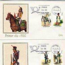 Sellos: EDIFIL 2350/4 UNIFORMES MILITARES SIGLO XIX PRIMER DIA 15-7-1976 MUNDO FILATELICO. Lote 109296843