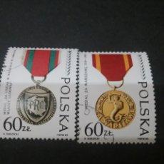 Sellos: SELLOS DE POLONIA (POLSKA) MATASELLADOS. 1989. MEDALLAS HONOR II GUERRA MUNDIAL. SIRENA. ESCUDO ARMA. Lote 115003716