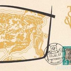 Sellos: EDIFIL 1361, MAPA DE REGADIOS (25 ANIVERSARIO ALZAMIENTO NACIONAL), TARJETA MÁXIMA DE 10-7-1961. Lote 121978051