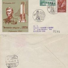 Sellos: AÑO 1960, INAUGURACION MONUMENTO AL ALFEREZ ROJAS EN UBEDA (JAEN) GUERRA CIVIL SOBRE ALFIL CIRCULADO. Lote 122212299