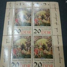 Sellos: HB/SELLOS DE ALEMANIA, R. D (DDR) NUEVA. 1989. PINTURAS. GUERRA. TEOLOGO. MUNTZER. EJERCITO. ARTE.. Lote 127976016