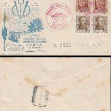 Sellos: AÑO 1951, 15 ANIVº DEL CONVOY DE LA VICTORIA (GUERRA CIVIL), MATASELLO CEUTA, ALFIL CIRCULADO. Lote 128022215