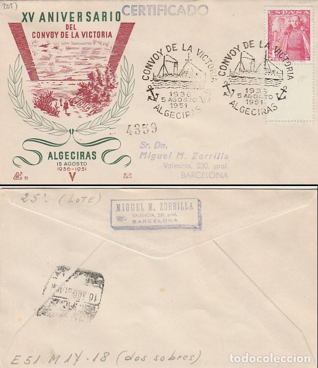 AÑO 1951, 15 ANIVº DEL CONVOY DE LA VICTORIA (GUERRA CIVIL), MATASELLO CEUTA, PANFILATELIC CIRCULADO (Sellos - Temáticas - Militar)