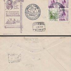 Sellos: AÑO 1948, VII CENTº DE LA MARINA ESPAÑOLA, ALMIRANTE BONIFAZ MATASELLO BURGOS, QUERALT, CIRCULADO. Lote 128640031