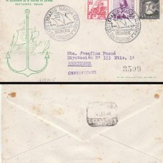 Sellos: AÑO 1948, VII CENTº DE LA MARINA ESPAÑOLA, ALMIRANTE BONIFAZ MATASELLO BURGOS, TOLEDO CIRCULADO. Lote 128640095