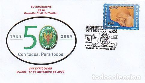 AÑO 2009, 50 ANIVERSARIO DE LA GUARDIA CIVIL DE TRAFICO, MATASELLO DE OVIEDO (Sellos - Temáticas - Militar)