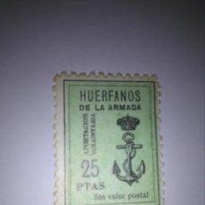 Sellos: SELLO 25 PESETAS - HUÉRFANOS DE LA ARMADA. Lote 133984774