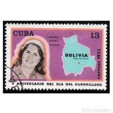 Timbres: CUBA 1972. MI 1814. MILITARES. DÍA DEL GUERRILLERO. TAMARA BUNKE. USADO. Lote 141435498