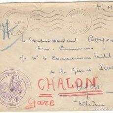 Sellos: SOBRE 1940: PARIS - RHONE / LE COMMISSAIRE MILITARE. Lote 143825726