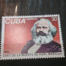 Sellos: SELLOS R. CUBA MTDAS/1983/100TH ANIV. MUERTE DE KARL MARX/POLITICO/FAMOSOS/COMUNISTA/. Lote 143831858