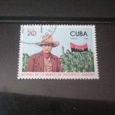 Sellos: SELLOS R. CUBA MTDOS/1984/50 ANIV. MUERTE AUGUSTO C. SANDINO/BANDERA/REVOLUCIONARIO/GENTE/MANIFESTAC. Lote 143875524