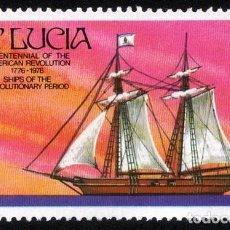 Sellos: STA. LUCÍA 1976. MICHEL LC 372, YVERT LC 378. BARCOS. BUQUE DE GUERRA -THE HANNA- USADO. Lote 144111178