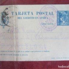 Sellos: TARJETA POSTAL DEL EJERCITO EN AFRICA. 1922. REG. CAZADORES DE TREVIÑO DAR-DRIUS. Lote 144901334