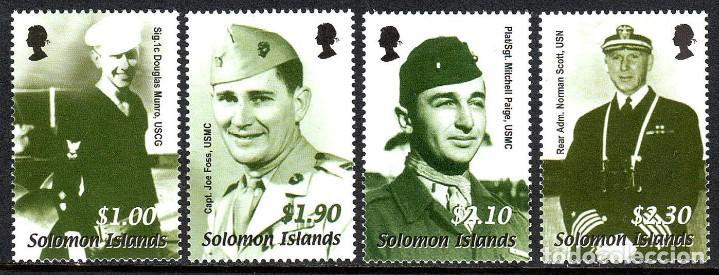 SELLOS SOLOMON ISLANDS 2002 60TH ANNIVERSARY OF THE WWII GUADALCANAL CAMPAIGN (Sellos - Temáticas - Militar)