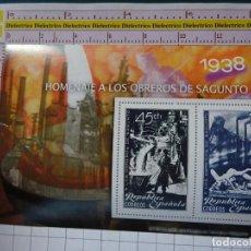 Sellos: HOJA BLOQUE. TEMÁTICA POLÍTICO MILITAR. GUERRA CIVIL ESPAÑOLA. 1938 HOMENAJE A LOS OBREROS SAGUNTO. Lote 147337534