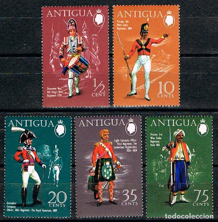 ANTIGUA Nº 251/5, UNIFORMES MILITARES INGLESES DEL LOS SIGLOS XVIII Y XIX (1970), NUEVO*** (SERIE CO (Sellos - Temáticas - Militar)