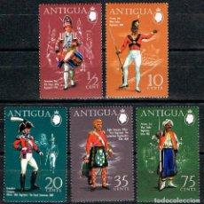 Sellos: ANTIGUA Nº 251/5, UNIFORMES MILITARES INGLESES DEL LOS SIGLOS XVIII Y XIX (1970), NUEVO*** (SERIE CO. Lote 148410334