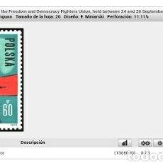 Sellos: SELLOS R. POLONIA (POLSKA) MTDOS/1964/3 CONGRESO UNION LUCHADORES POR LIBERTAD Y DEMOCRACIO/ARMAS/MA. Lote 150155609