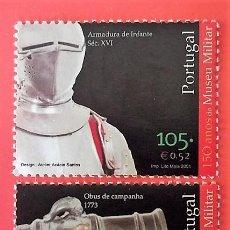 Sellos: PORTUGAL. 2496/97 MUSEO MILITAR: OBÚS DE CAMPAÑA Y ARMADURA DE INFANTERÍA. 2001. SELLOS NUEVOS Y NUM. Lote 150264070