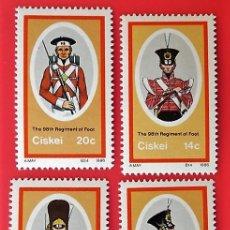 Sellos: CISKEI. 98/101 UNIFORMES MILITARES. 1986. SELLOS NUEVOS Y NUMERACIÓN YVERT.. Lote 150264134
