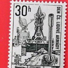 Sellos: CHECOSLOVAQUIA. 1597 DÍA DEL EJÉRCITO: CARRO DE COMBATE Y LANZADERA DE COHETES. 1967. SELLOS NUEVOS. Lote 150264166