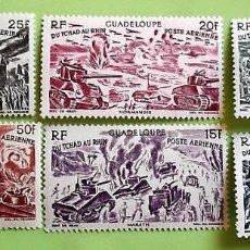 Sellos: GUADALUPE. A 7/12 DEL TCHAD AL RHIN. TIPOS SELLOS ÁEREOS DE AFRICA ECUATORIAL. 1946. SELLOS NUEVOS C. Lote 151960574